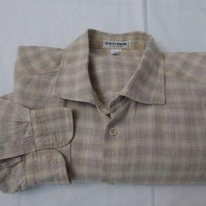 Giorgio Armani Men Long Sleeve Plaid Dress Shirt